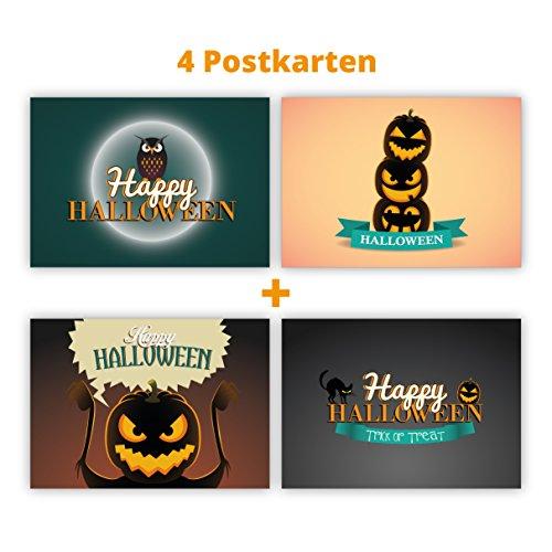 Gruselige Halloween Postkarten mit Kürbis, Eule und Katzen: Happy Halloween