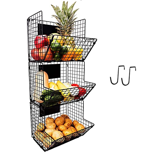 3-Tier Wall Mounted Storage Basket Foldable Organizer, Hanging Metal Wire Basket with Chalkboards, Kitchen Fruit Produce Pantry Bathroom Laundry Organization Office Garage Storage, Black