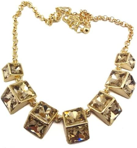 New Womens Color Choose Golden Metal Geometry Crystal Choker Necklace(wiipu-A94)