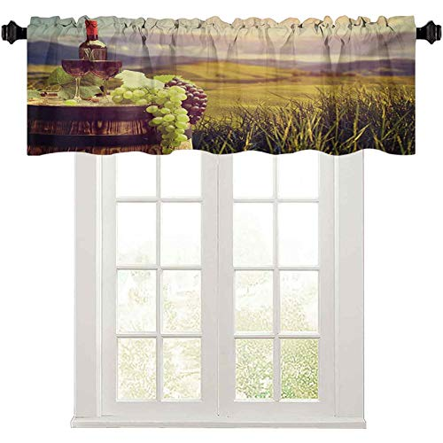 """Window Valance, Italy Tuscany Landscape Rural Vineyard Autumn Harvest Grapes Drink Viticulture, 50"""" W x 18"""" L valances for Bedroom, Green Black Brown"""