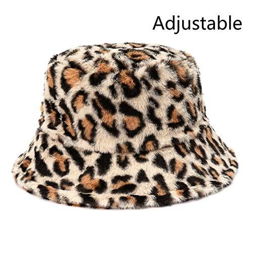 Sombreros de Cubo de Felpa con Estampado de Invierno para Mujer, Sombrero de Sol cálido al Aire Libre, Gorra de Pescador de Terciopelo Suave, Moda para Mujer-Beige Leopard