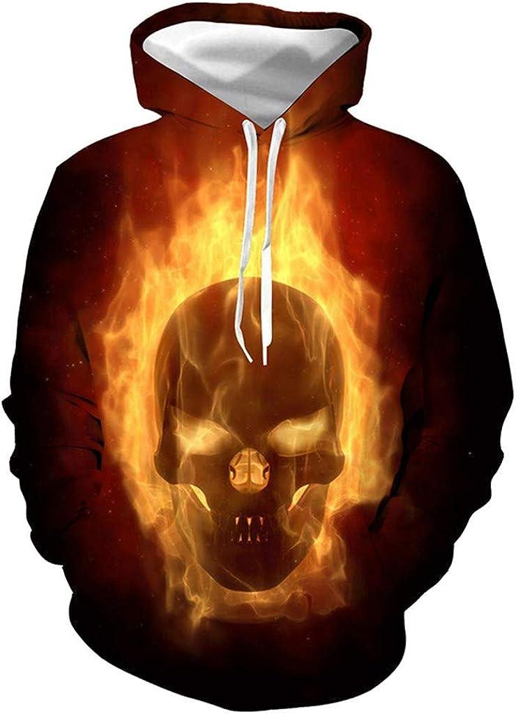 Hoodies for Men Zipper Skull,Forthery Unisex 3D Print Halloween Long Sleeve Novelty Hoodie Pullover Fleece Sweatshirt