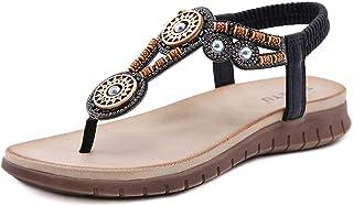 ZAPZEAL Sandale Plate Femmes Spartiate Strass Bohême Sandales et Nu-pied Bout Ouvert Léger Mule de Plage Style Exotique Ch...