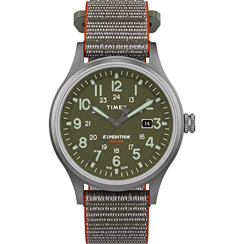 Timex Men's TW4B18600 Expedition Scout Solar 40mm Green/Silver-Tone Fabric Fast Wrap Strap Watch