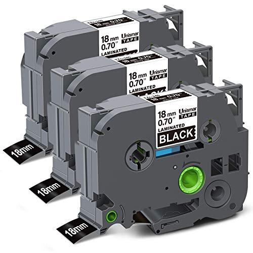 "Unismar Compatible Label Tape Replacement for Brother TZe-345 TZe345 TZ345 for PT-D400AD PT-P700 PTD600 PT-D600VP PT-P750W PT2730VP PT-D450 Label Maker, 3/4"" x 26.2', White on Black, 3-Pack"