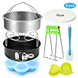 FITNATE 8 Pack Electric Pressure Cookers Accessories Set Compatible with Instant Pot 5, 6, 8 Quart, Steamer Basket, Egg Bites Mold, Egg Steamer Rack, Non-stick Springform Pan for Steamer Cooker