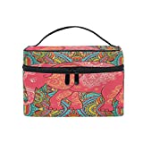 STAYTOP Makeup Bag Paisley Elephant Travel Cosmetic Bags Organizer Train Case Toiletry Make Up Pouch with Zipper for Women Girls