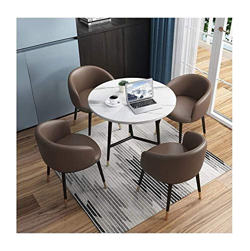 DYYD Simple Reception Table And Chair Set 4 Office Meeting Room Negotiation Small Round Table Modern Kitchen Home Living Room Creative Display Marble Texture Desktop Cafe Corridor 1 Table 4 Chairs