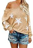 COCOLEGGINGS Women's Boat V Neck Pullover Sweater Oversized Tunic Top Khaki M