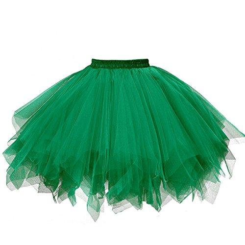 GOOBGS Musever 1950s Vintage Ballet Bubble Skirt Tulle Petticoat Puffy Tutu Dark Green Small/Medium