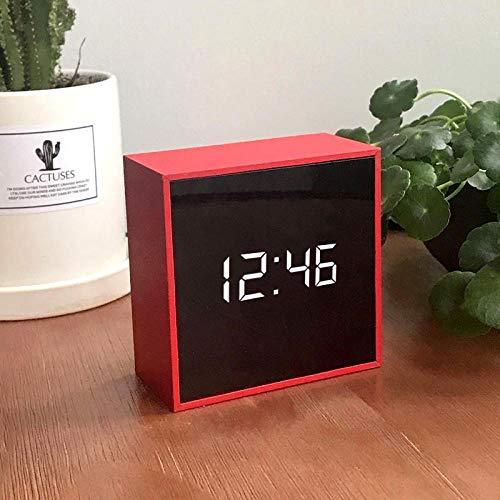 Despertador Despertador Despertador para niños Cuadrado Creativo LED Electrónico Mute Clock Plug in Red Square Memory