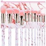 pennelli make up start makers 12 pezzi set di pennelli per trucco in marmo rosa con polvere ombretto correttore per labbra correttore portapennelli make up con soffici fibre sintetiche(rosa)