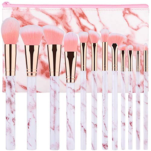 Make Up Pinsel Set StartMaker 12 Pcs Pinsel Set Make Up Marmor Lidschatten Lip Concealer Foundation Frauen Makeup Pinsel Geeignet FüR Amateure Professionelle Maskenbildner Real Make Up Pinsel(Rose)