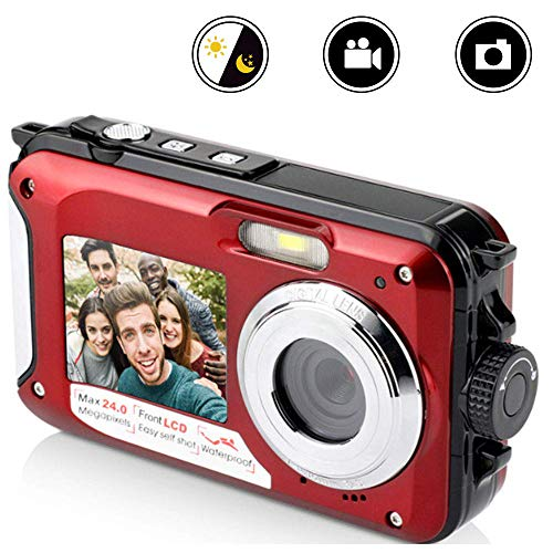 Cámara Digital compacta Impermeable, HD 24 Millones de píxeles 16X Zoom Pantalla Dual Autodisparador Videocámaras Digitales DV compatibles con detección de rostros móvil