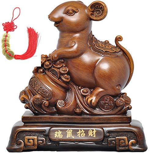 DSACXZ Feng Shui ratte/muis, jaar 2020, gouden collectie van het Chinese sterrenbeeld, koperkleurig beeld van het Duitse Duitse Ministerie van Binnenin ter decoratie van de auto voor het goede geluk geschenk rood