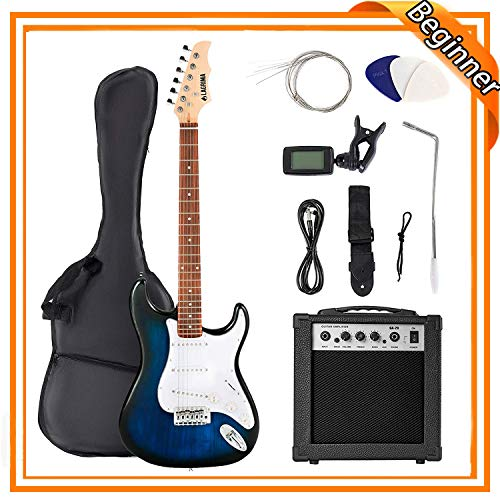 LAGRIMA 39' Full Size Beginner Electric Guitar Starter Kit with Case, Strap, Strings, Pick, Tremolo...