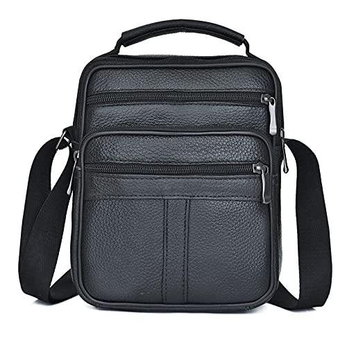 LOPSNNA Bolso Bandolera de Piel auténtica para Hombre, Estilo Vintage, Bandolera, Bolso de Negocios, maletín para Ordenador portátil(Negro)