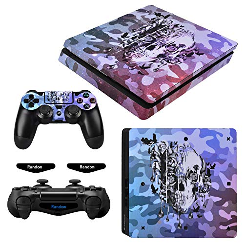 eXtremeRate Full Set Faceplate Skin Decal Stickers for Playstation4 Slim/PS4 Slim with 2 Led Lightbar (Console & 2 Controller)