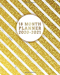 2020-2021 18 Month Planner: Awesome Leaf Gold Organizer with Weekly & Monthly Views - Nifty Asbtract Glossy Schedule Agenda with Inspirational Quotes, Vision Boards, Notes & To Do's.