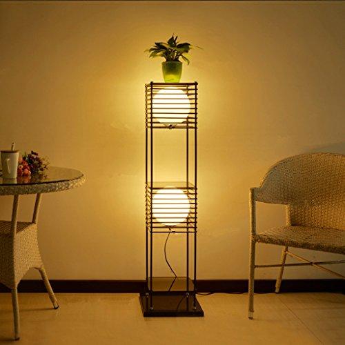Lampe de plancher Lampe de plancher salon moderne Chinoise créative étude de chevet rétro plan de fer étagères lampadaires A+