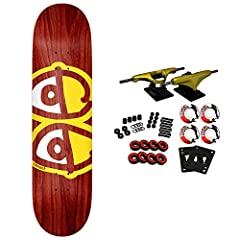 "This Krooked deck comes in assorted stained veneer colors. 7-Ply North American Maple. Measures 8.06"" Wide. This pro skateboard deck is suitable for every skill level from beginner to pro. Core trucks are light weight and feature heavy duty aluminum ..."