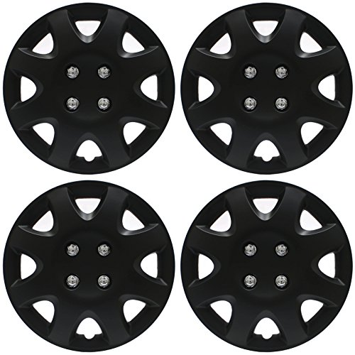 Cover Trend (Set of 4) - 14' Inch Black Matte Hub Caps Wheel Covers, Fits most 14 inch Steel Wheels.