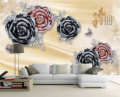 Flor de lujo 3D que florece rica joyería flor TV fondo wall-350 * 245cm