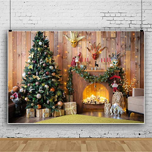 Photo Backgrounds Christmas Tree Fireplace Board Background Adult Kids Holiday Party Decoration Photography Studio 3D Digital Fabric Backdrop 150x210CM