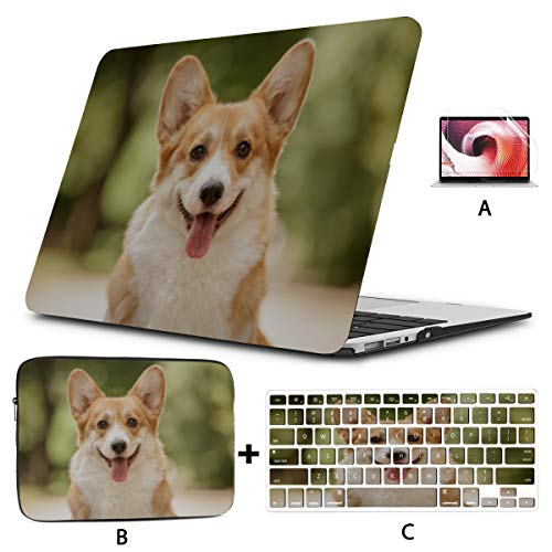Macbook Pro 2017 Accessories Cute And Lovely Small Corgi Puppy Mac 13 Inch Case Hard Shell Mac Air 11'/13' Pro 13'/15'/16' With Notebook Sleeve Bag For Macbook 2008-2020 Version
