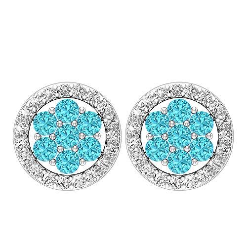 Pendientes circulares de 1/3 quilates, piedras preciosas redondas, diamantes HI-SI de 1,50 mm de topacio azul suizo, pendientes de racimo, pendientes de flores doradas, joyas para ella, tornillo azul