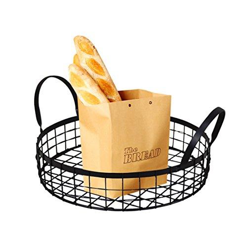 Corbeille à pain, Vicoki Panier à pain Ronde Corbeille à Fruits en Fer Rangement Cuisine --33×28×14 cm