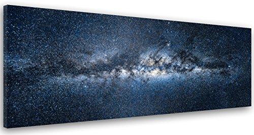 Feeby Cuadro en Lienzo Imagen Impresión Pintura Decoración Canvas de Una Pieza 100x40 cm Cosmos Universo Azul