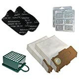 Sparset 12 Mikrovlies Staubsaugerbeutel + 12 Duftsteine + 2 Hepa Filter + 2 Kohlefilter geeignet für Vorwerk Kobold VK 130 131 SC - VK130, VK131 - FP 130 131 - mit Spezial-Vlies