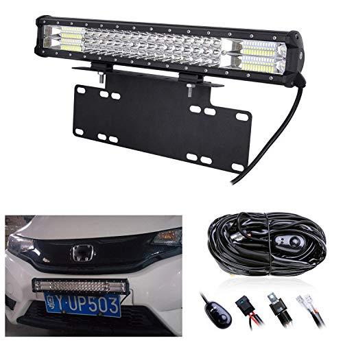 RIGIDON Barra de luz led, 20 pulgadas 288W, Spot Flood Combo Beam Tri fila Barras luminosas led y kit de cableado soporte de matrícula y soporte de montaje para off road camión coche ATV SUV 4x4