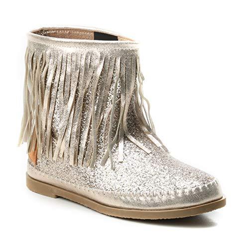 HERIXO Mädchen Schuhe Stiefel Schlupfstiefel Gold Silber Fransen Mokassin Ibiza Indianer Western-Style Boho Stiefeletten Glitzer Glitter Glanz Metallic (35 EU, Gold)