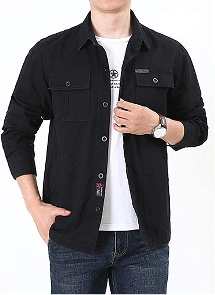 MODOQO Men's Button Down Shirts Long Sleeve Casual Solid Blouse Tops T-Shirt