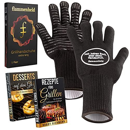 FLAMMENHELD Grillhandschuhe - Grill Handschuhe für Männer (Gr L-XL) - Grill Zubehör Ofenhandschuhe lustig Handschuhe extra lang (32cm), hitzebeständig bis 500°C - Geschenk für Männer + 2 Rezept Ebooks