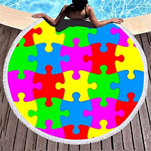 Patrón De Bloques De Construcción De Impresión Digital 3D Toalla De Playa De Microfibra De Color Redondo Alfombra De Playa Absorbente De Secado Rápido con Borlas 150 * 150cm