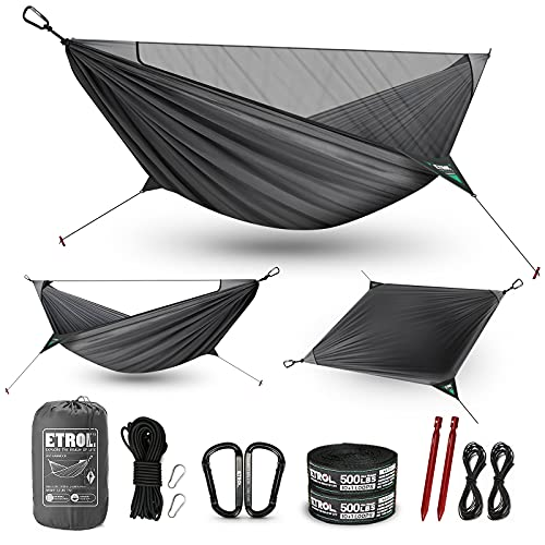 ETROL Camping Hammocks - 2 in 1 Portable Hammock with Net,Lightweight Double Hammock for Outdoor,Indoor,Travel,Backpacking,Patio,Beach,Hiking - Tree Straps,Carabiners,Ridgeline, Nails, Elastic Rope