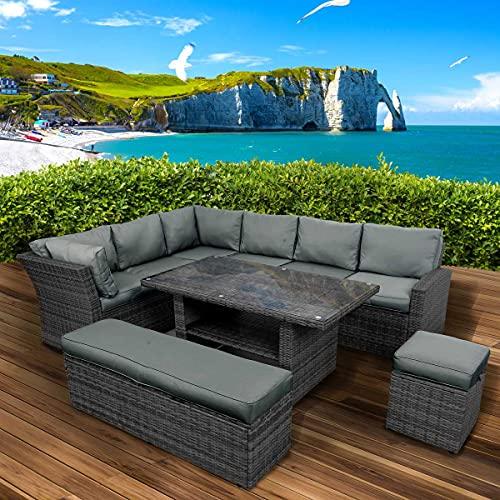 BRAST Poly-Rattan Gartenmöbel Essgruppe Lounge Set Sitzgruppe Outdoor Möbel Garten Garnitur Sofa Holidays Schwarz/Grau