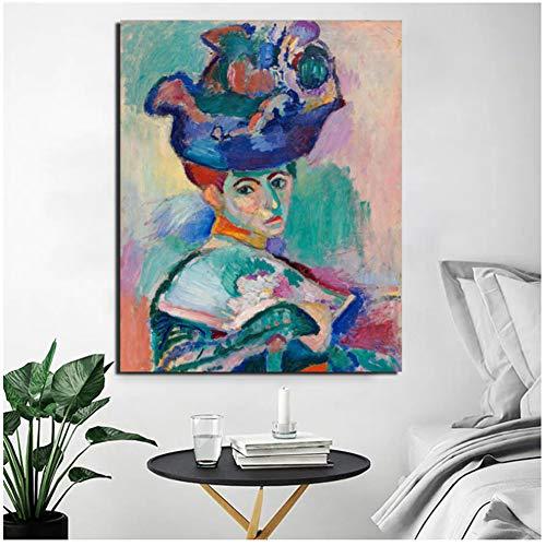 dubdubd Henri Matisse Frau mit Hut LeinwandWohnzimmer Home Decoration Wandkunst Malerei Poster Bild -50x60cm Kein Rahmen