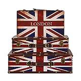 HXiaDyG Maleta Vintage Caja De Almacenamiento De 3 Set De Bolsas De Almacenamiento Retro Decorativo Galería De...