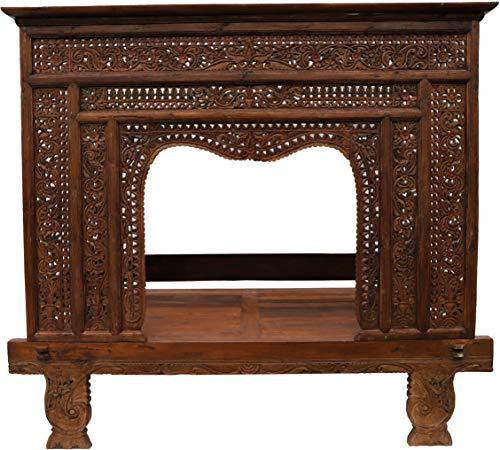 Guru-Shop Cama con Dosel Histórico, Sofá-cama de Madera de Teca - No. 7, Maderadeteca, 205x233x145 cm, Camas