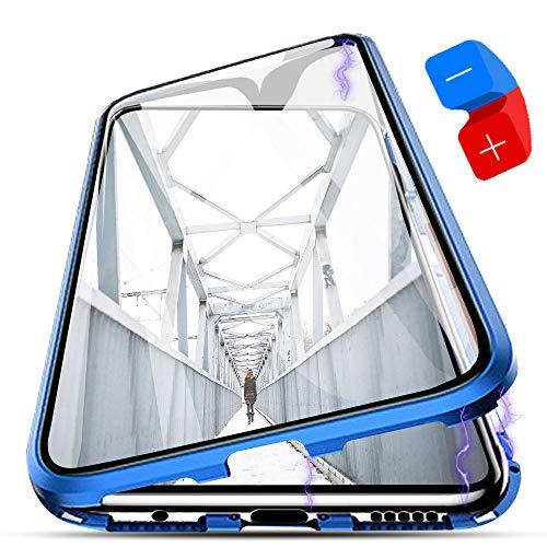 ZHXMALL 360 Grados Protección Completa para Huawei Mate 10 Lite, [Magnética Absorción] [Delantero + Trasero] 2 en 1 Marco de Metal con Vidrio Templado Transparente antiarañazos Protección Tota