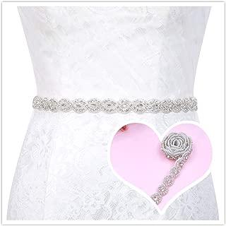 Bridal Rhinestone Belt for Wedding Dress Bridesmaid Gown Women Formal Dress Ribbon Sash with Silver Crystal Beaded Applique
