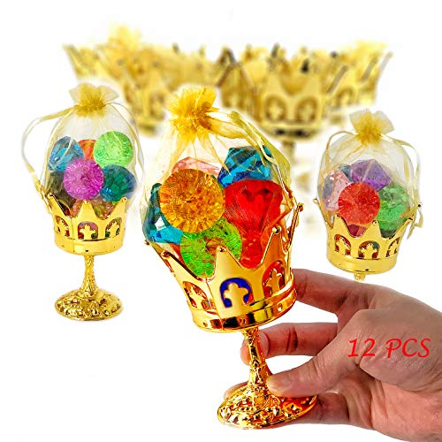 JC HUMMINGBIRD 12 Pieces Fillable Crown Goblet with Pouch, Gold,