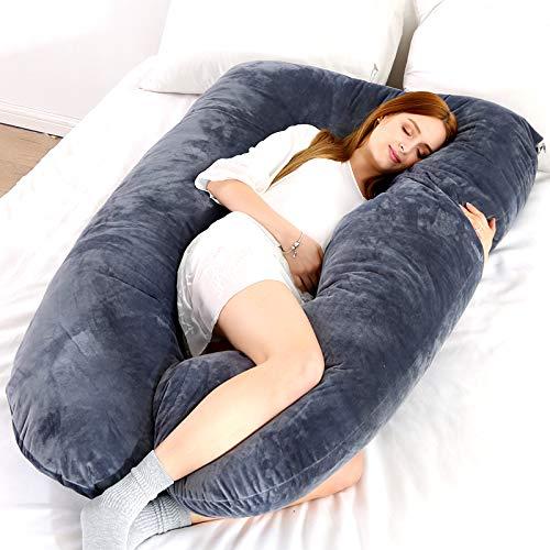 Almohada de embarazo Almohada de cuerpo completo en forma de U y soporte de maternidad con extensión…