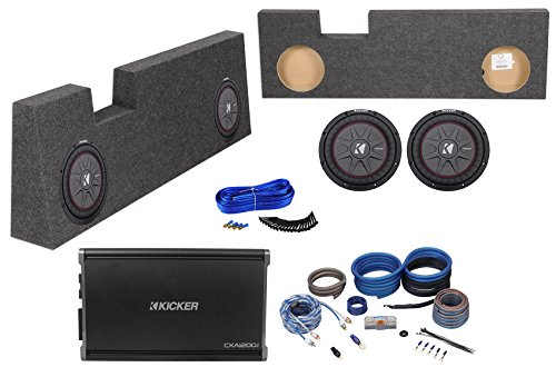 """10"""" Kicker Subwoofers+Amp+Box for 2004-16 Ford F250/350/450 Super Duty Crew Cab"""
