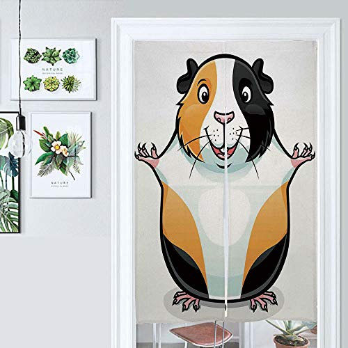 ALUONI Cotton Linen Japanese Noren Doorway Curtain Guinea Pig, Cartoon Illustration of A Fluffy and Smiling Face Tapestry for Home Decoration AM016955 W39.3 x L59
