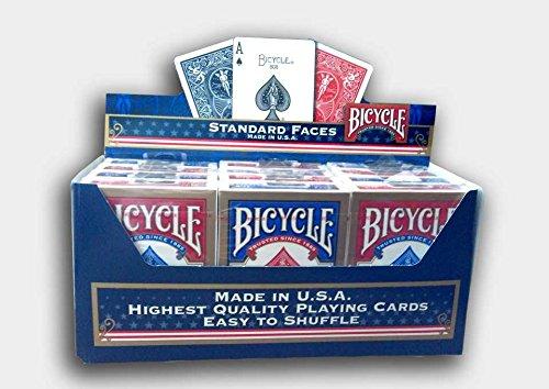 Bicycle Lot de 12 jeux de cartes standard bleu et rouge par US Playing Cards Company - Version Anglaise